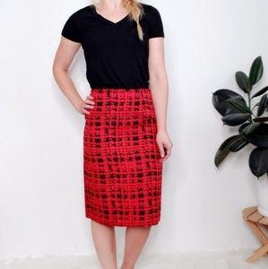 Tahari Arthur S Levine Red Black Pencil Skirt 292